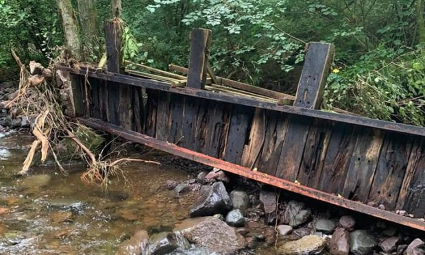 Flooding caused serious damage to the bridges and footpath throughout The Den at Dunning.