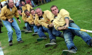 Aboyne Highland Games ;  Pictured - Cornhill Tug-O-War team compete at the games. Picture by KAMI THOMSON          .07-08-10