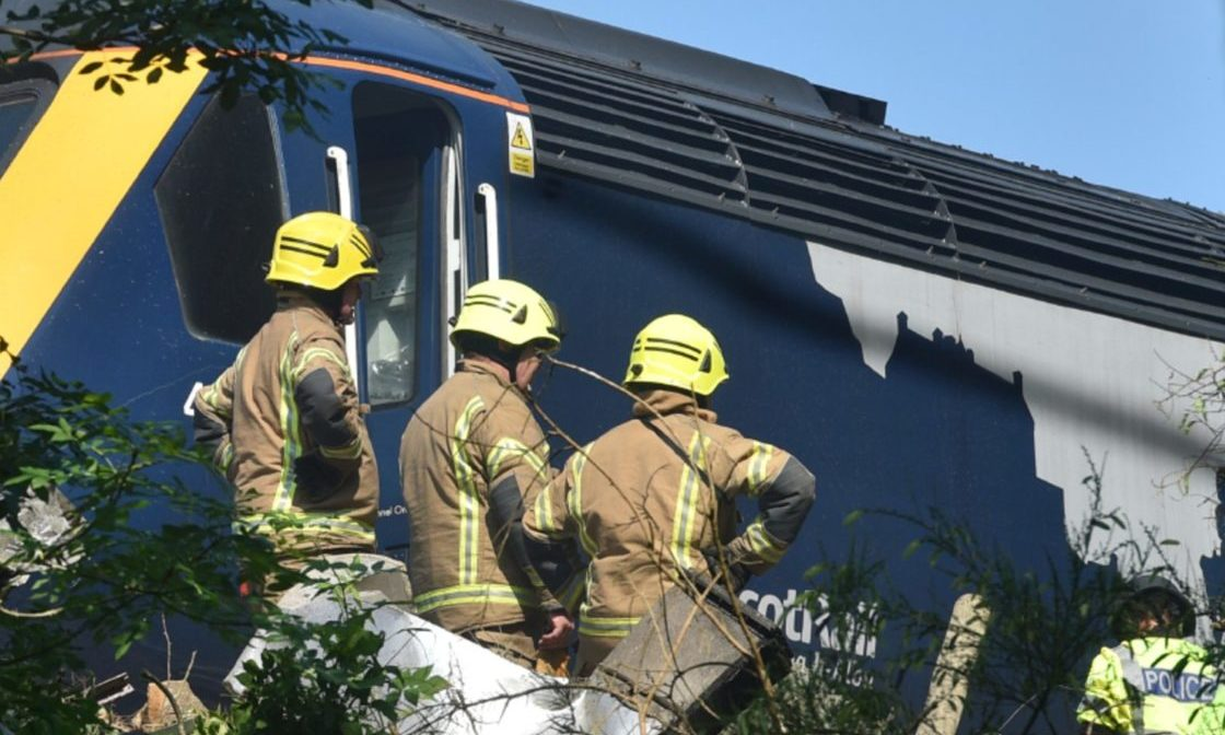The train derailed near Stonehaven.  Pictures by Darrell Benns 12/08/2020.