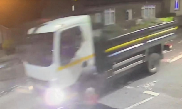The truck caught on CCTV.