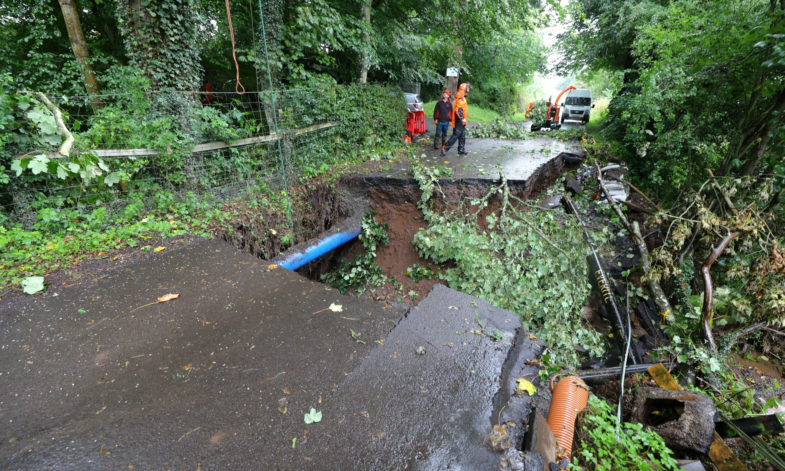 Damage to Station Road in Forgandenny