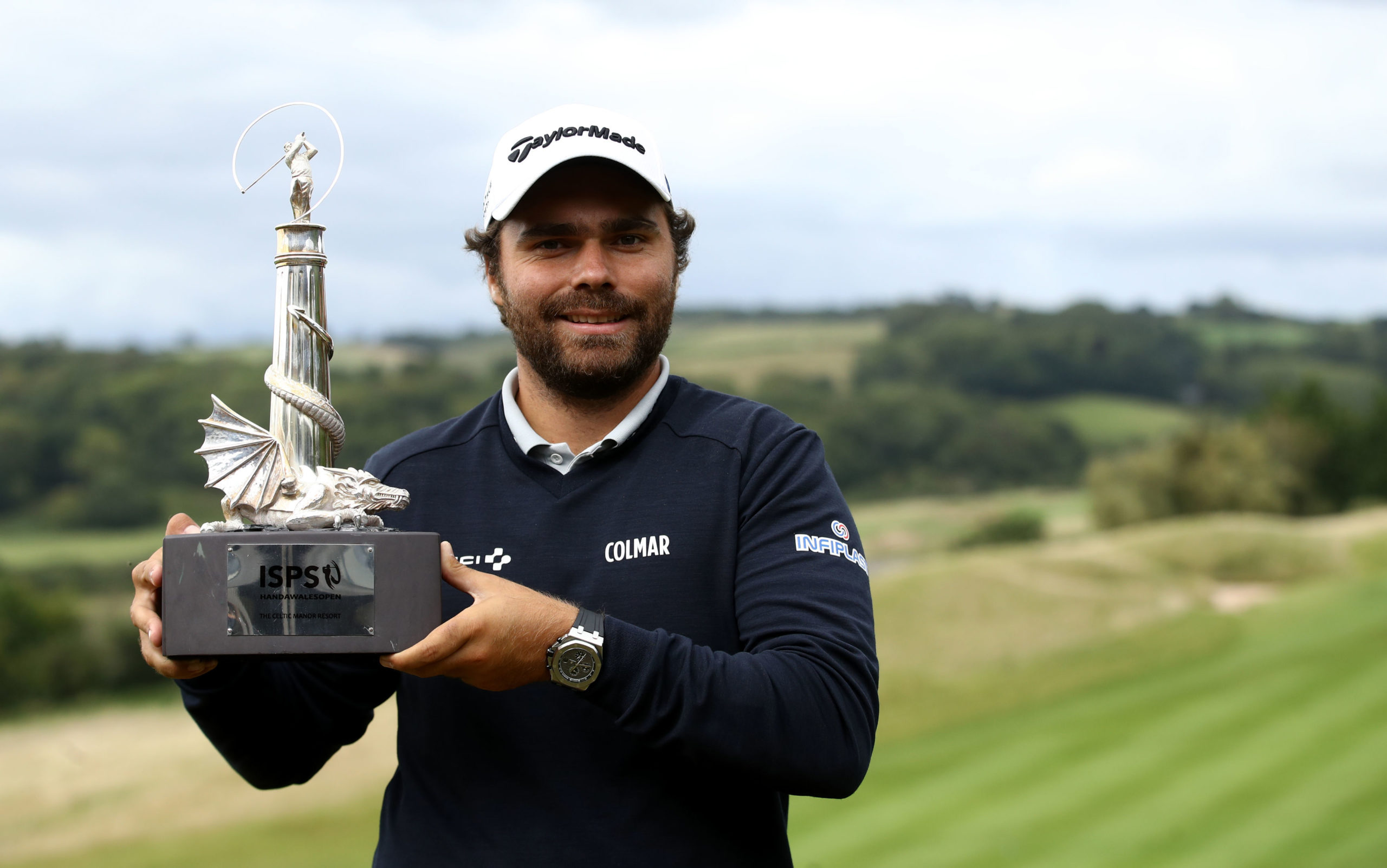 France's Romain Langasque with the ISPS Handa Wales Open trophy.
