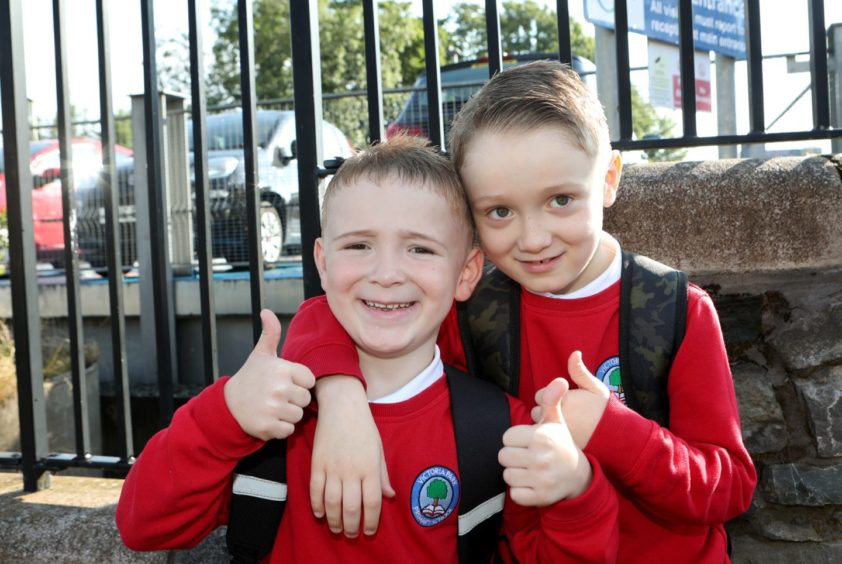 Victoria Park pupils Callan (P1) & his brother Coden (P4) ready to go to school