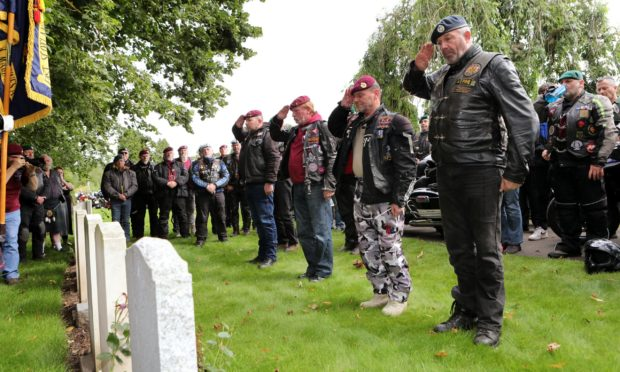 """Falkland veterans on """"Falklands Ride of Respect"""" in the Western Cemetery in Arbroath."""