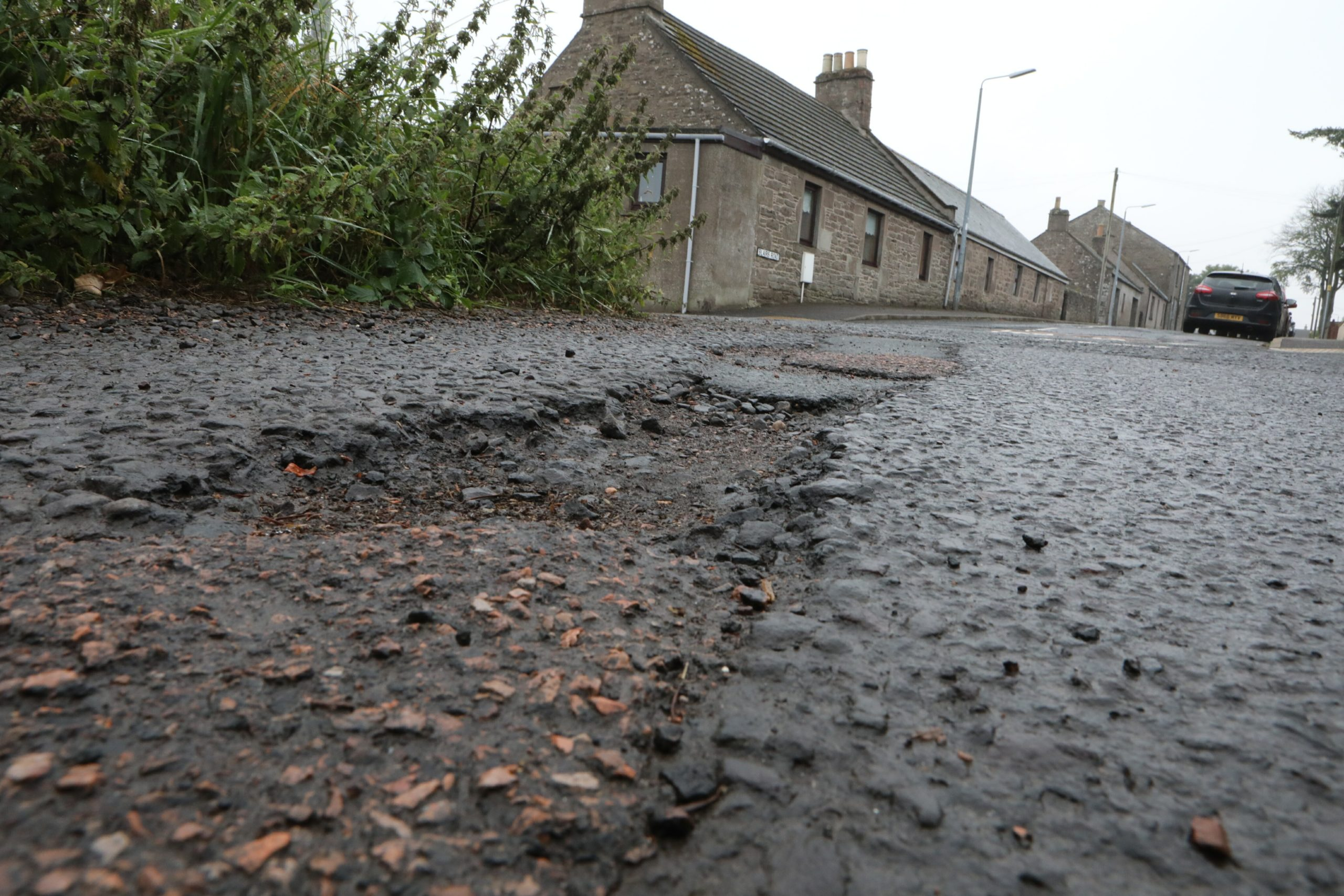 Potholes on East Blairs Road in Letham.