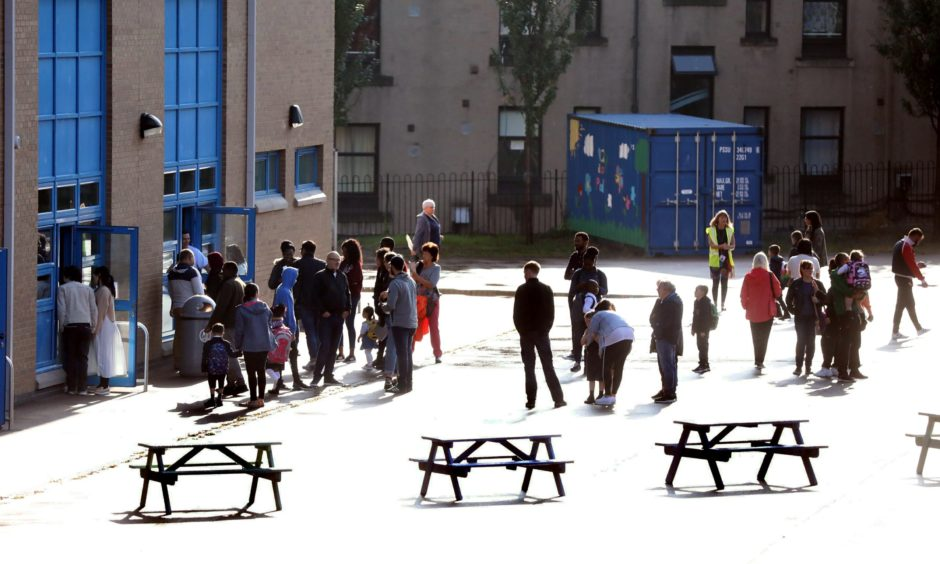 Pupils return to a Dundee school.