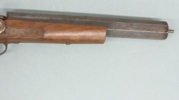 Close-up of the guns barrel.