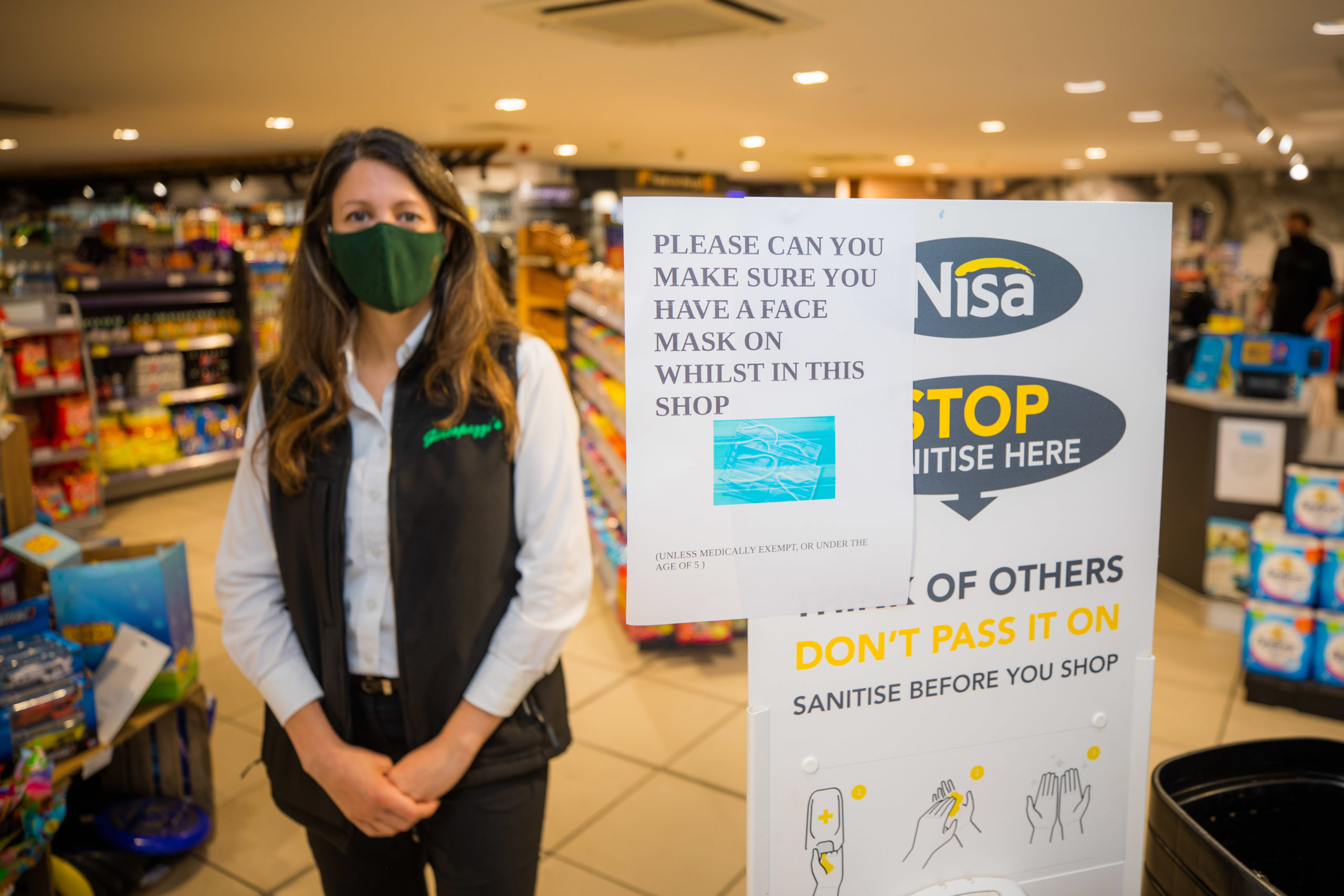 Kinross store owner Joanna Casonato wearing her mask.