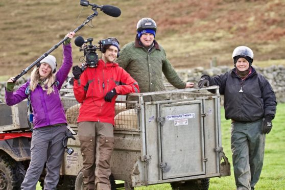 The BBC crew filming This Farming Life at Armadale Farm with Ian and Joyce.