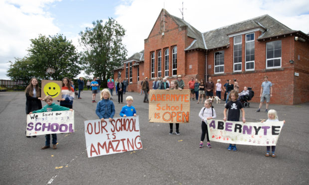 There were celebrations at Abernyte Primary when its closure was overturned.