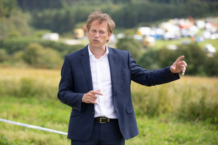 Courier News - Dundee - Jake Keith story - CR00***** - train derailment near Stonehaven. Picture shows; Grant Shapps Secretary of State for Transport talks to the press following his visit to the secene of the accident, Texel, near Stonehaven, 13th August 2020. Photo - Kim Cessford/DCT Media
