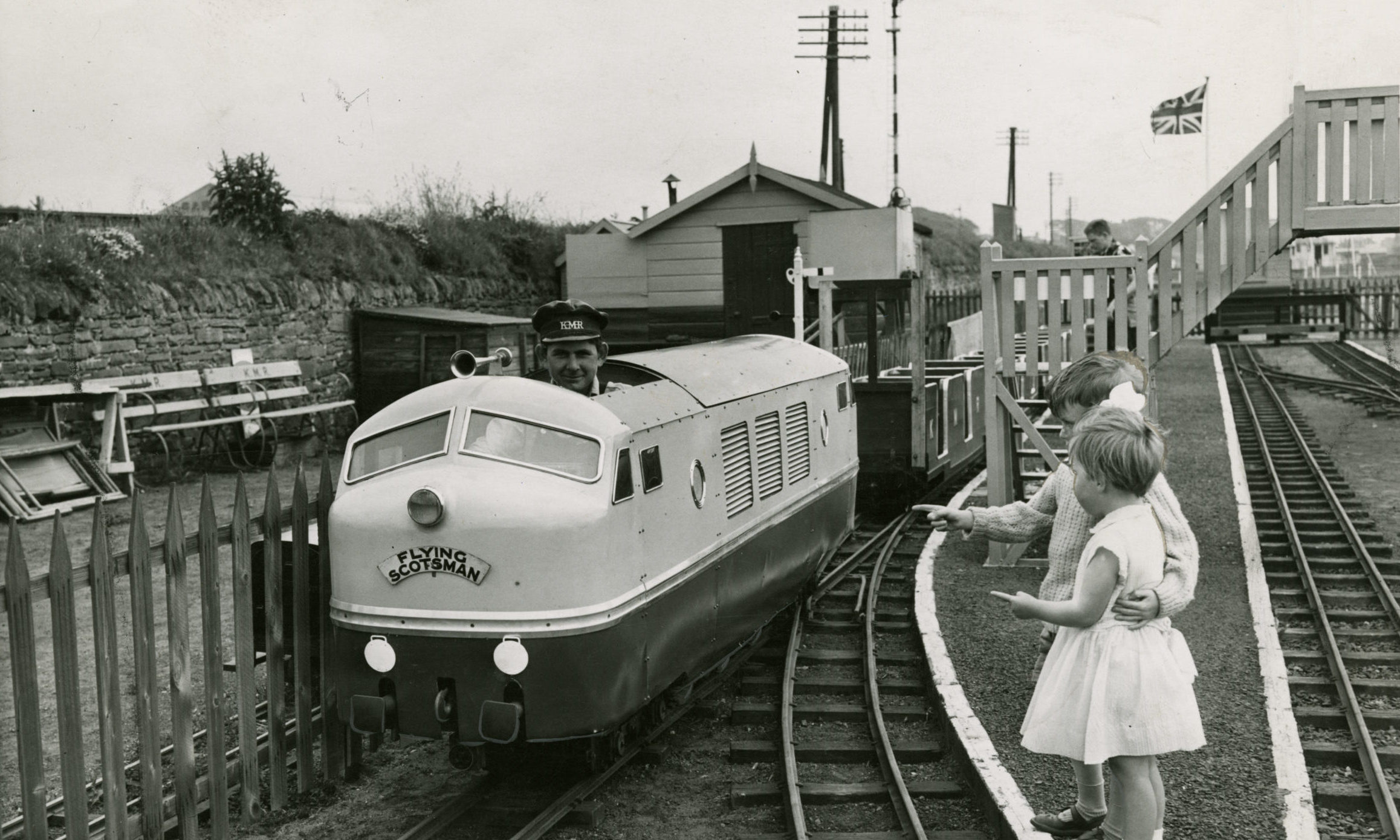 Douglas and Jennifer Payne from Perth enjoyed a close-up of an engine at Kerr's Miniature Railway on June 2 1960.