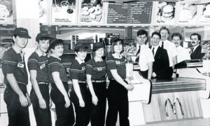 Dave Jeffrey was the first manager of the McDonald's in Reform Street when it opened in 1987. It was the first McDonald's outlet in Scotland. Dave, of Monikie, is on the right.