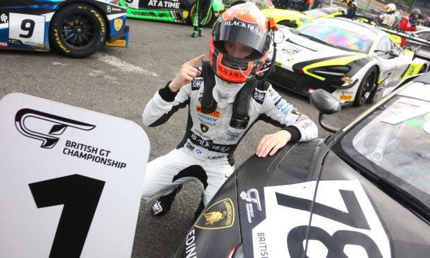 Sandy Mitchell celebrates Brands Hatch success. Pic: Jakob Ebery.