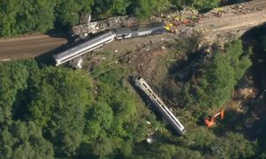 Aerial images showing the derailed train near Stonehaven.