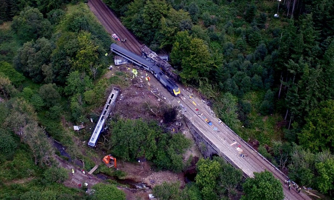 Emergency service are still at the scene of a derailed train near Stonehaven.