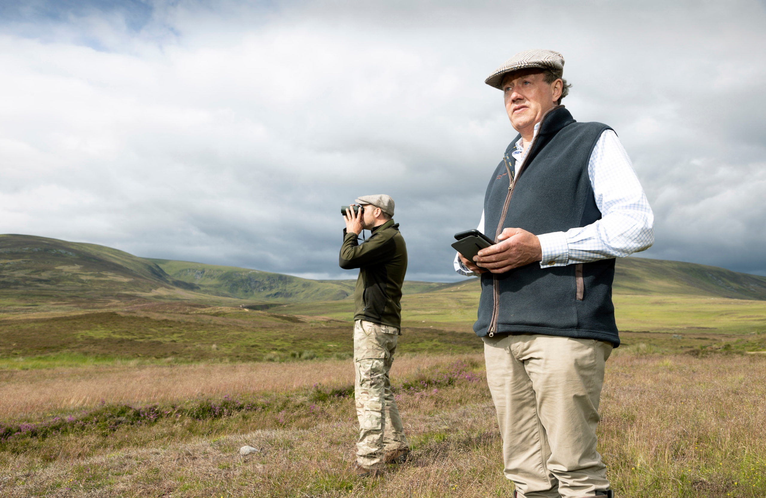 Dee Ward (right) owner of the Rottal Estate in Angus pictured with his head gamekeeper Mark trialling the new raptor monitoring app.