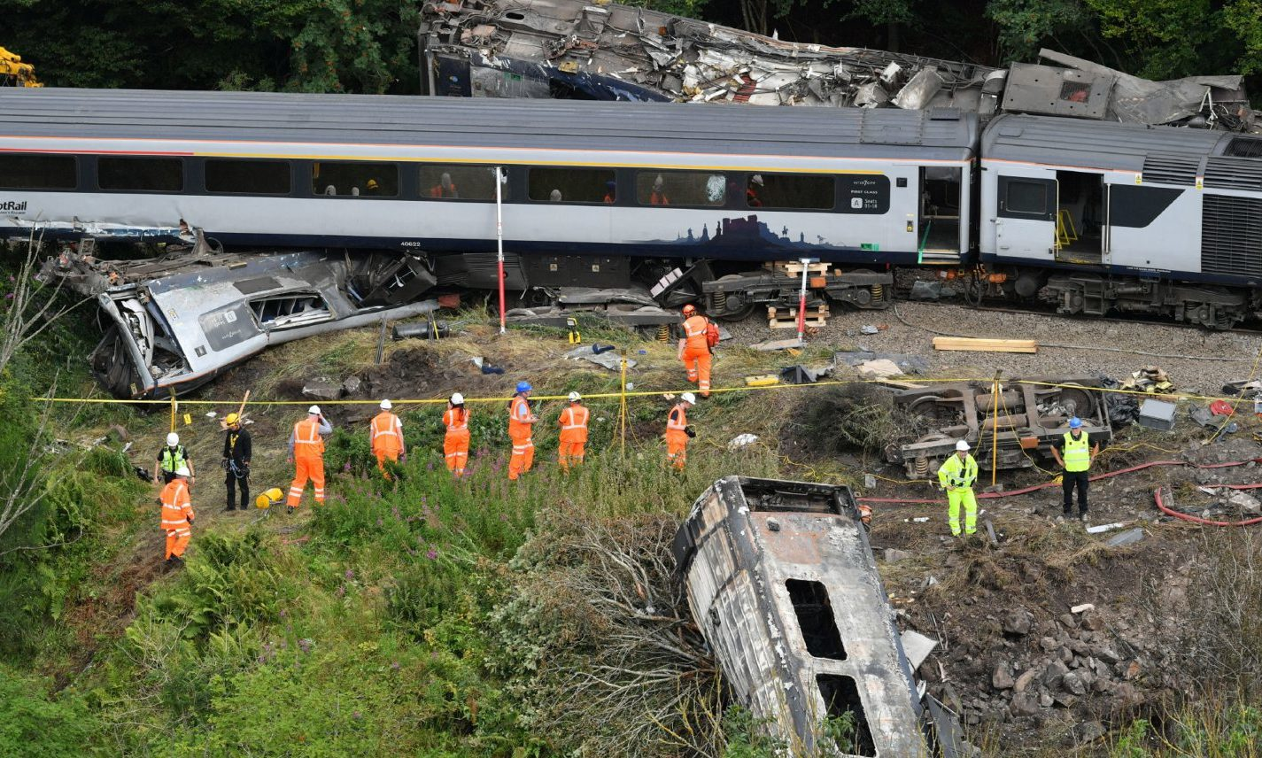 Emergency services inspect the scene of the incident near Stonehaven.
