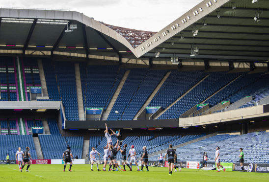 Edinburgh and Glasgow played to empty seats at Murrayfield in the first game after lockdown.