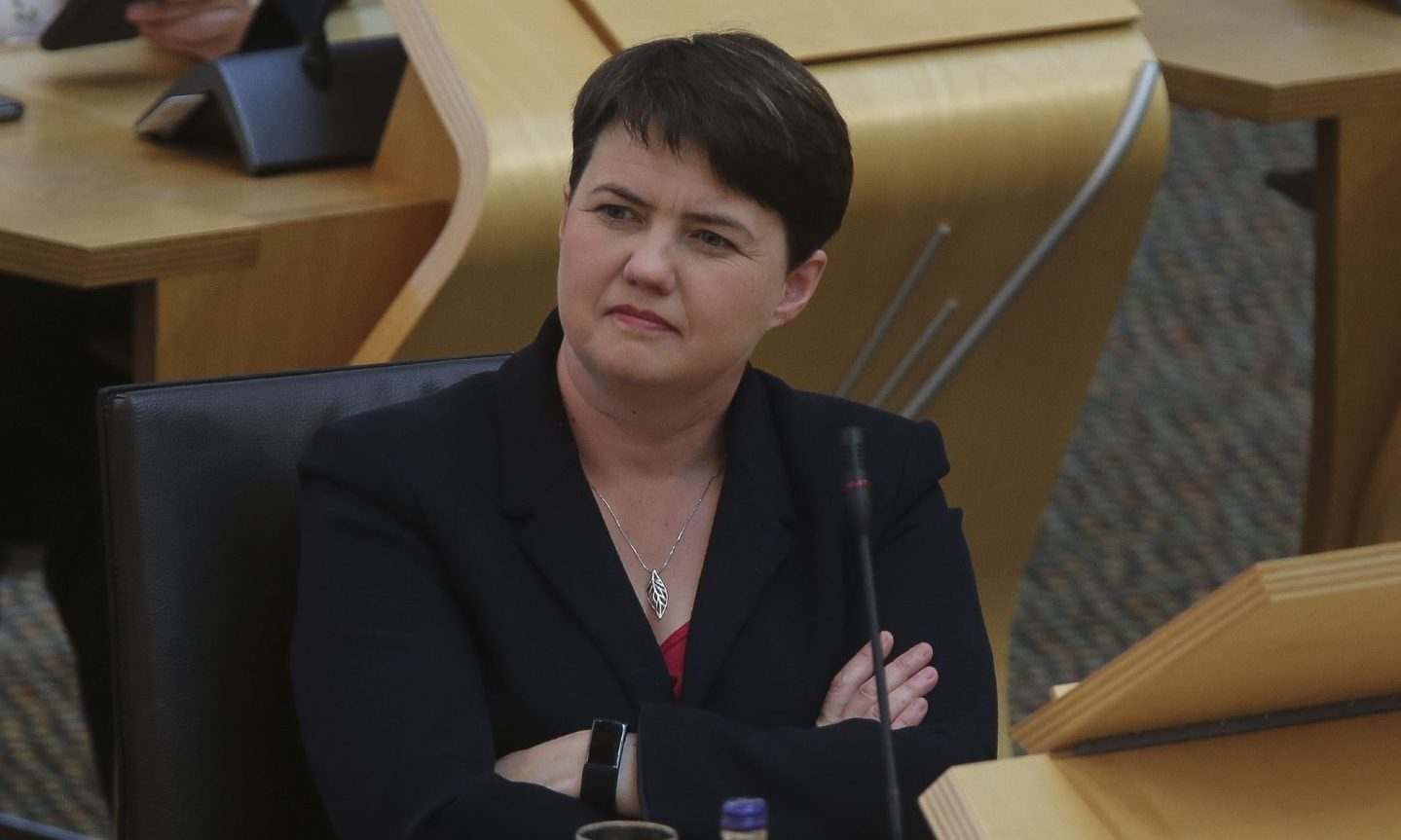Ruth Davidson, the reappointed leader of the Scottish Tories, during First Minister's Questions at the Scottish Parliament at Holyrood in Edinburgh on August 12
