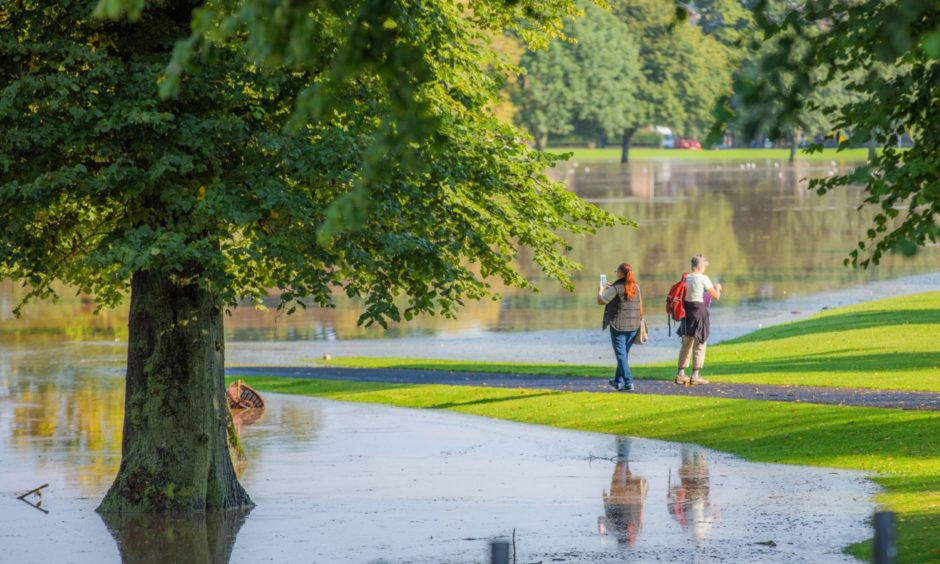 South Inch, Perth, flooded on August 12 following a night of thunderstorms.