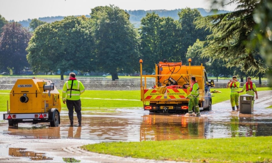 Paths closed off at the South Inch following flooding on August 12.