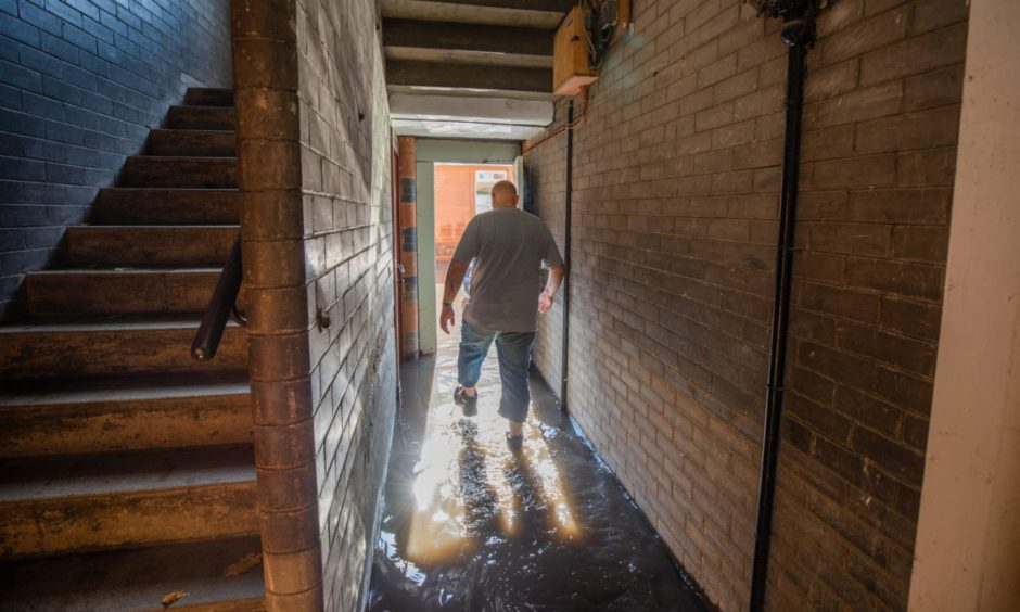 Andy Malcolm, resident at Inch Head Terrace, Perth, following the August 2020 floods.