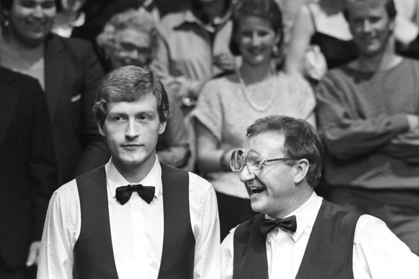 Steve Davis and Dennis Taylor at the Crucible in 1985.