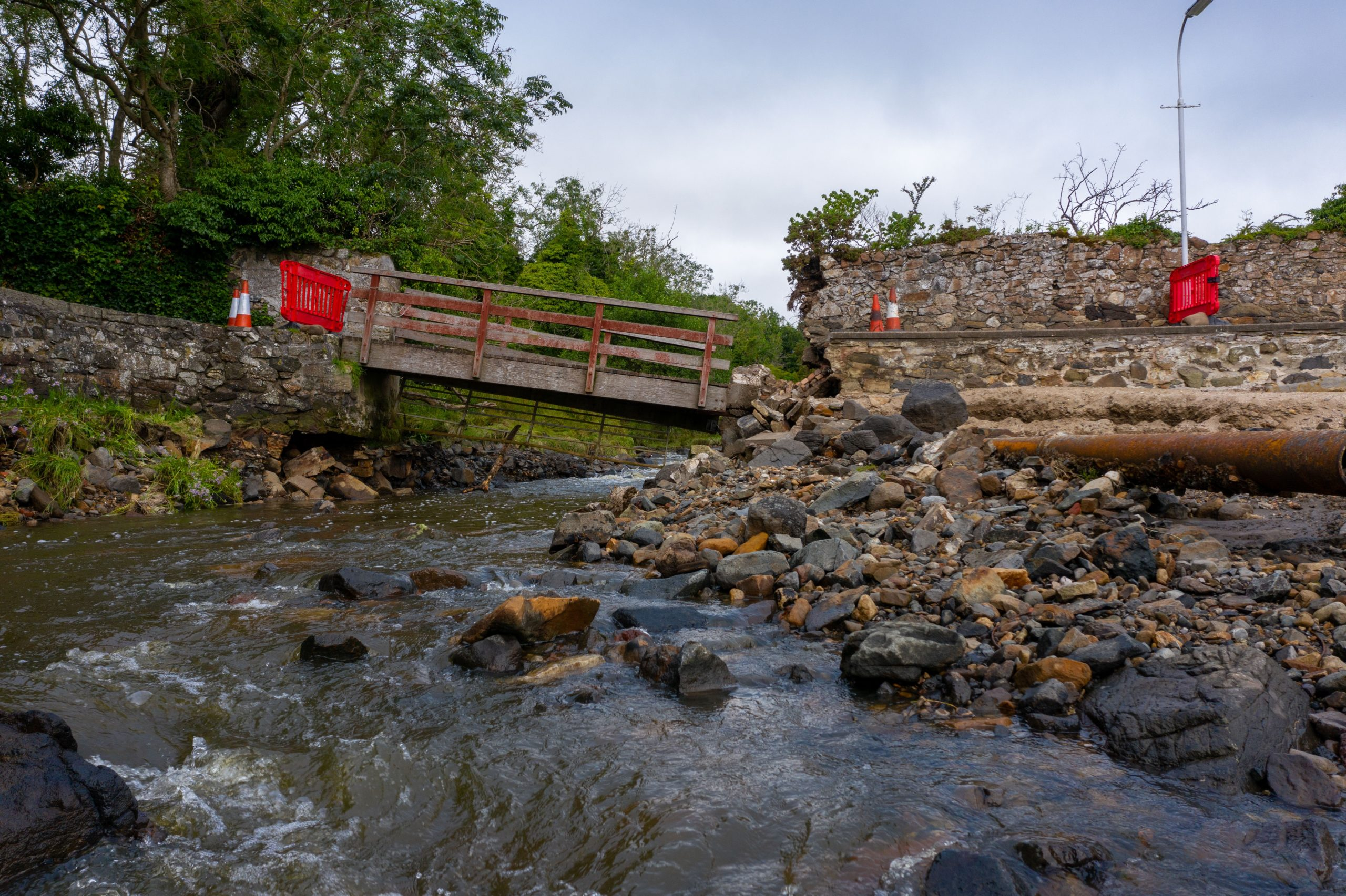 Damage to the bridge connecting Black Sands to Silver Sands in Aberdour, heavilly damaged in the storm on Tuesday night.