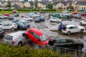 Cars at Victoria Hospital after the storm.