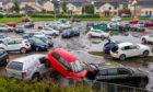 Flooded Victoria Hospital car park.
