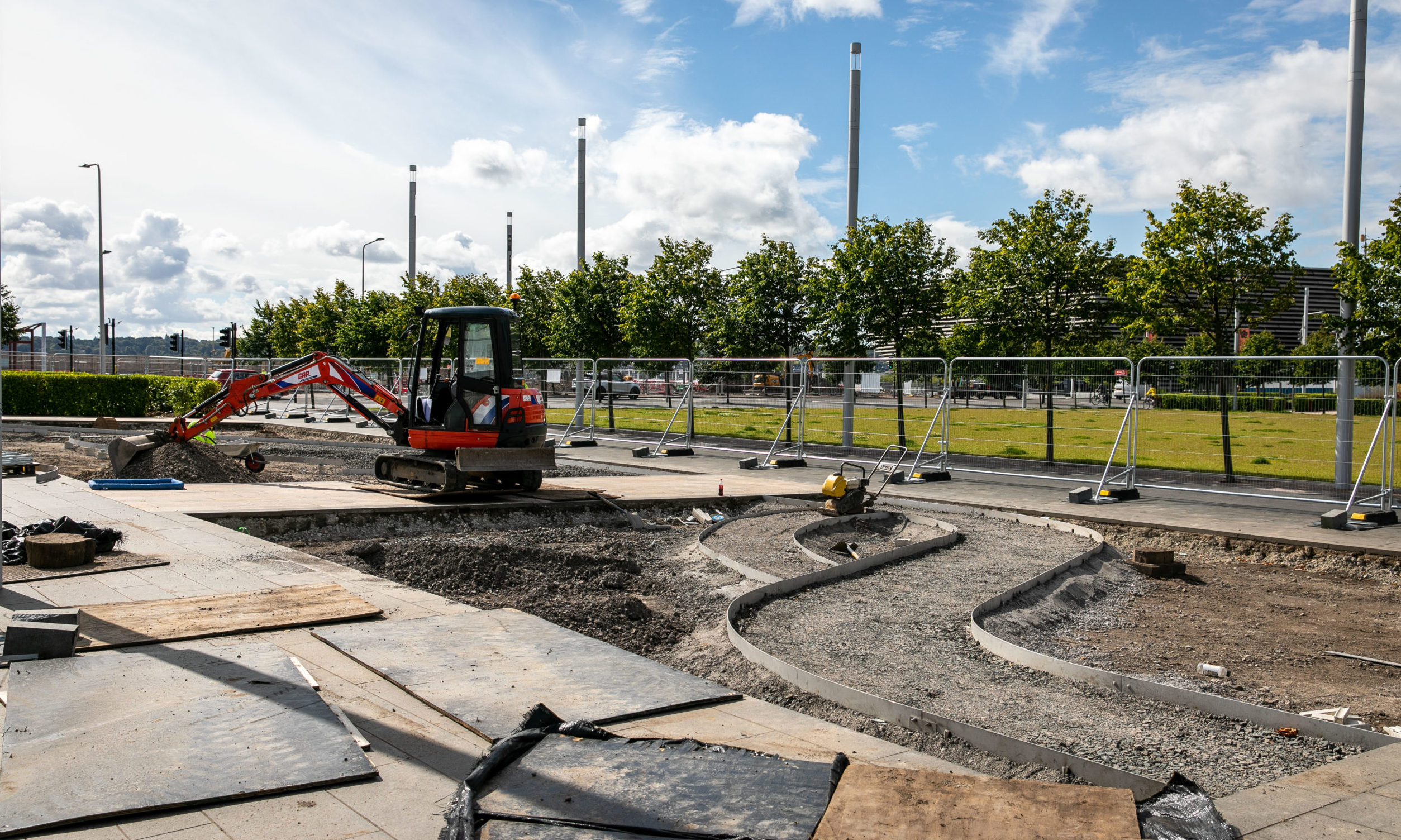 New planted areas being built in Slessor Gardens.