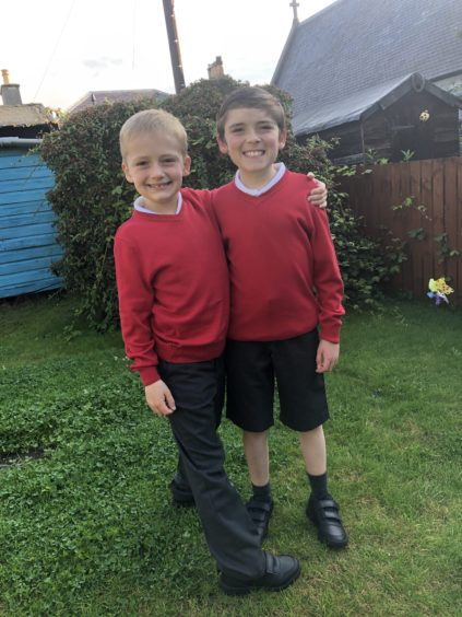 Ollie and Rhudy Grant on their first day back to Newhil Primary School in Blairgowrie.