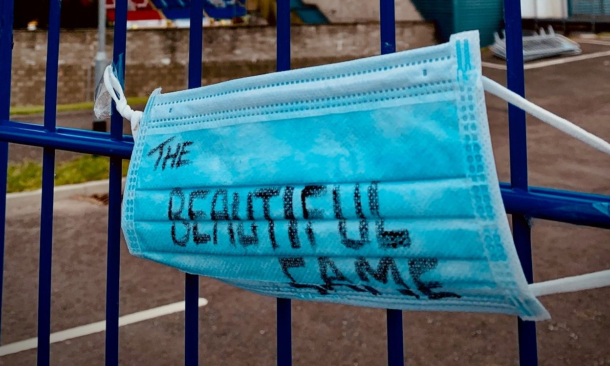 A mask tied to the railings at the home of St Johnstone
