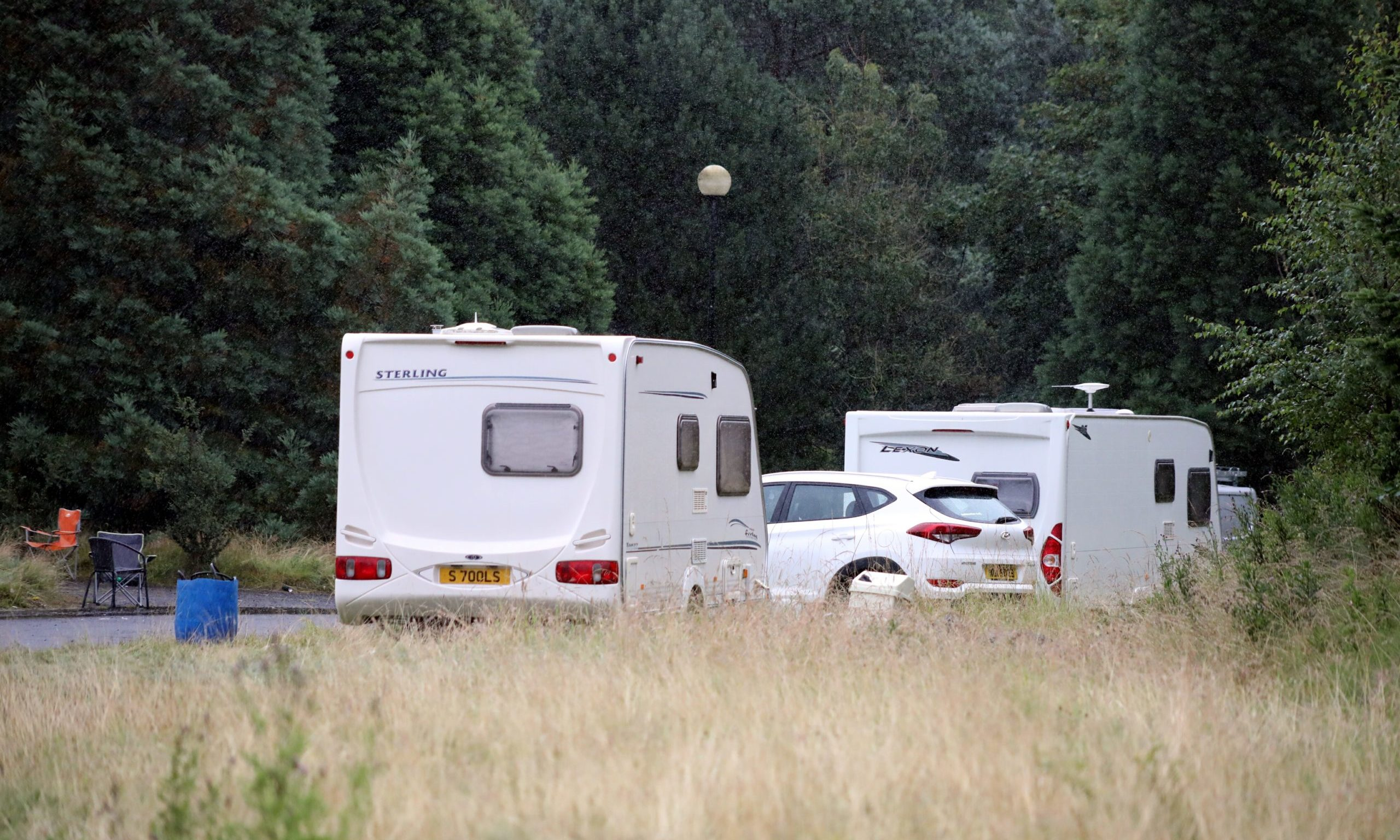 Traveller camp at the Aviva car park in Perth