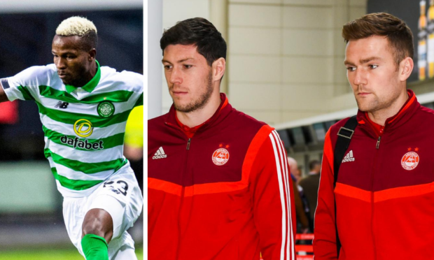 Celtic's Boli Bolingoli, left, and Scott McKenna and Mikey Devlin who were among 'Aberdeen eight'