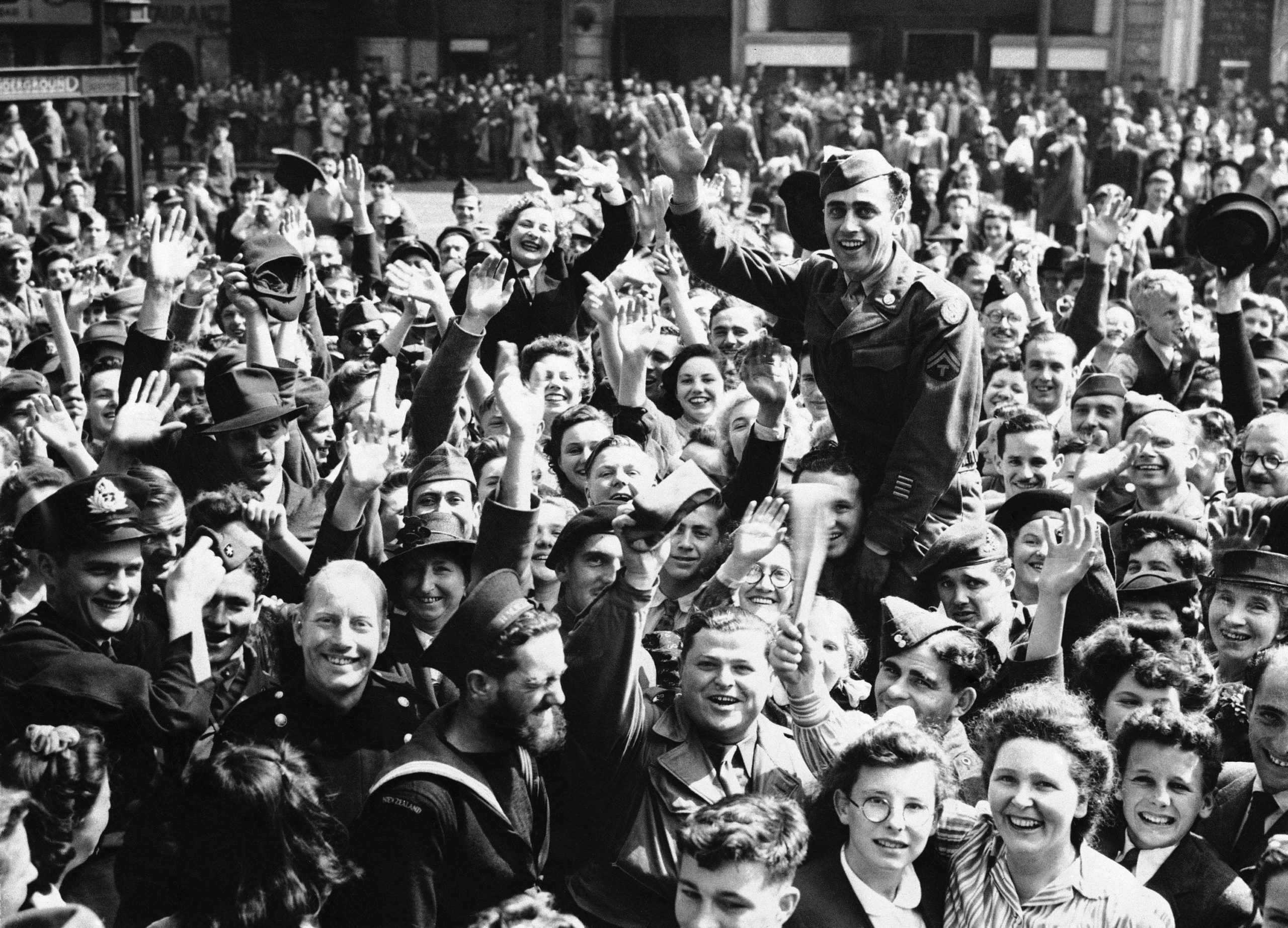 The jubilant crowds at Piccadilly Circus in London on hearing of the Japanese surrender on VJ Day, August 1945