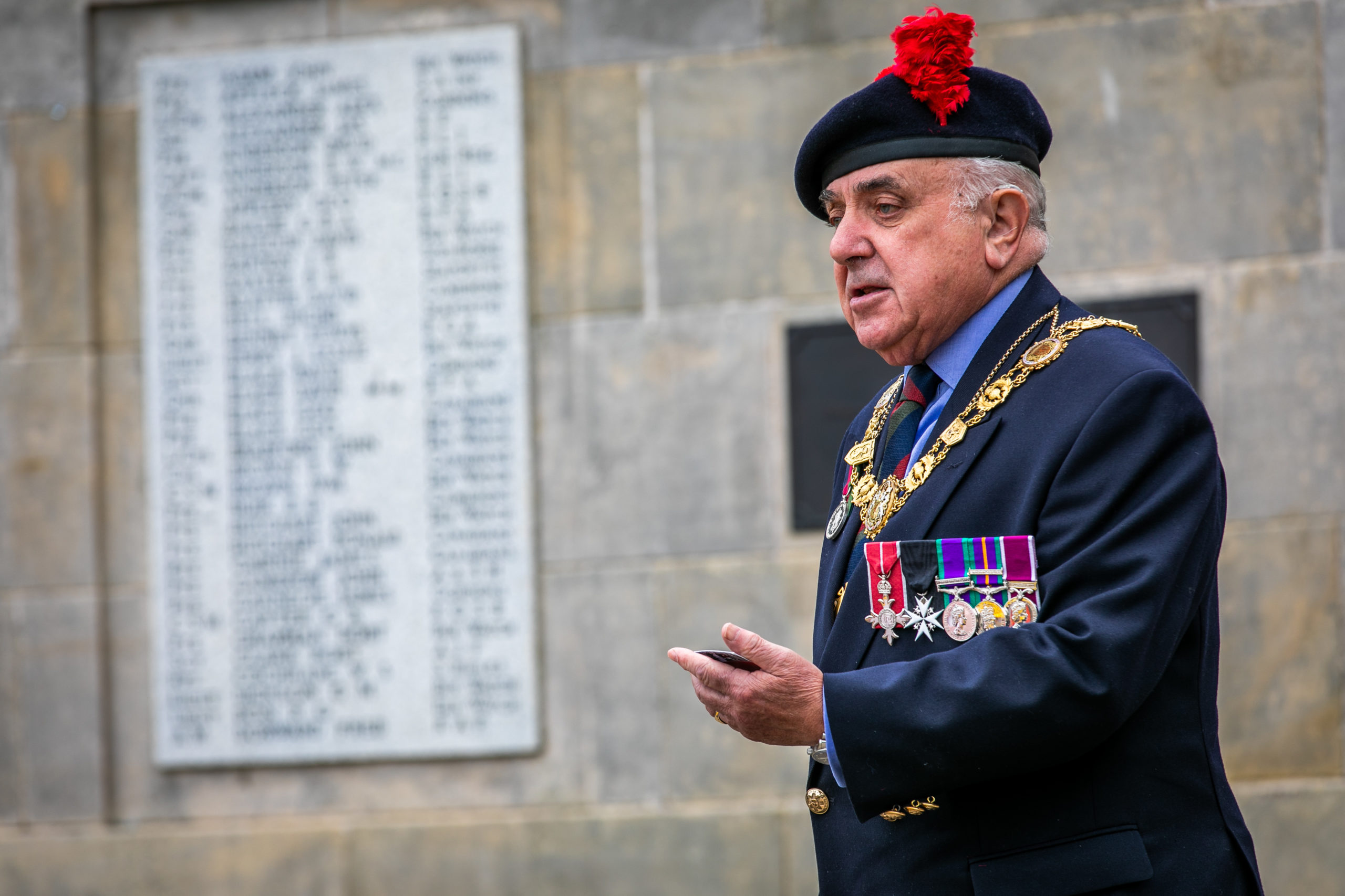 Lord Provost of Angus Ronnie Proctor at VJ commemoration ceremony in Carnoustie.