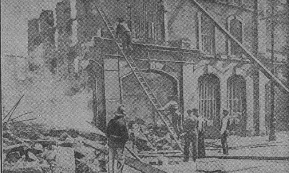 The scene of the disastrous fire at the whisky bond at the junction of the Seagate and Candle Lane in Dundee.