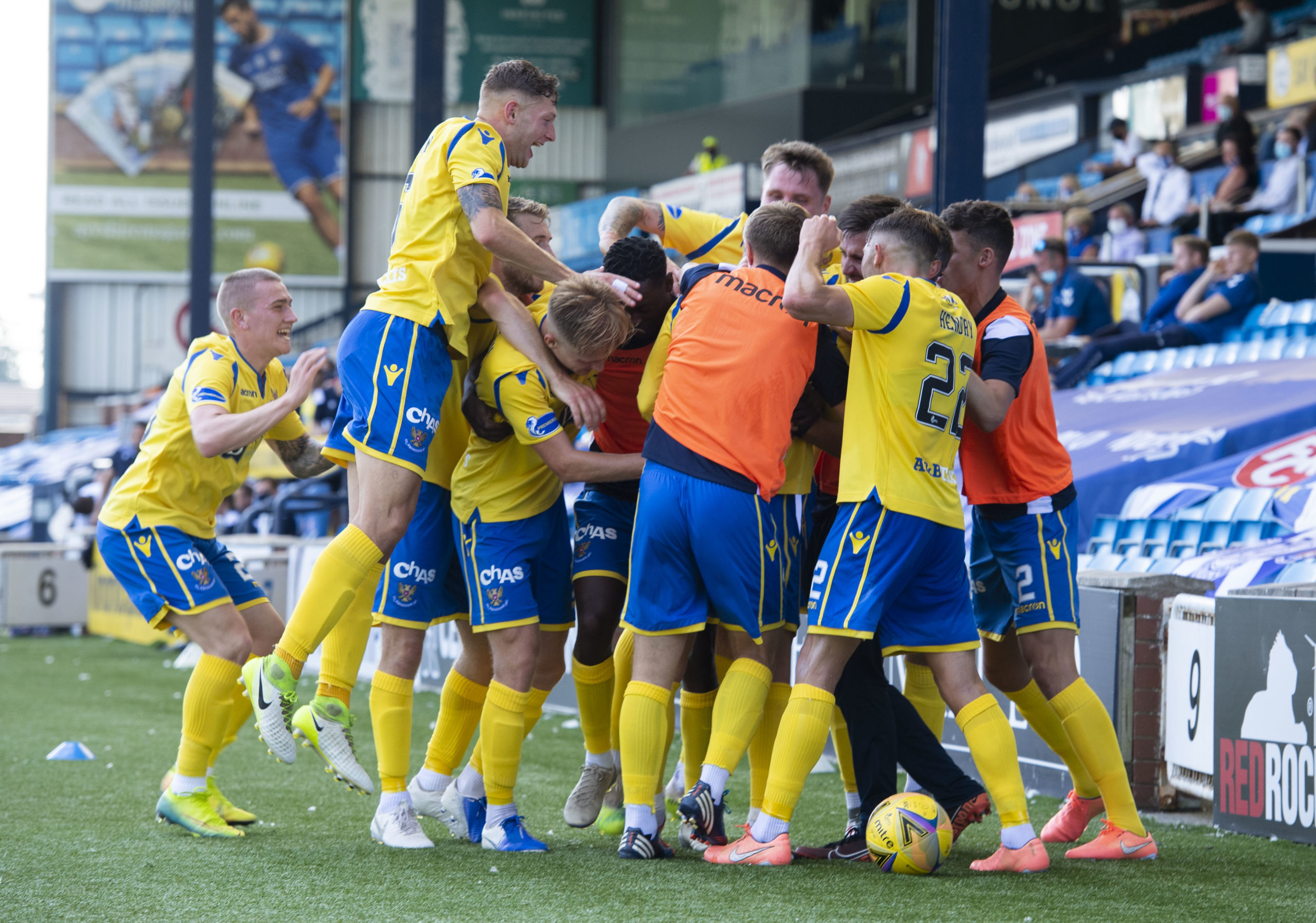 St Johnstone celebrate Michael O'Halloran's injury-time winner.