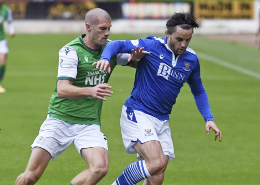Craig Conway in action against Hibs earlier this season.