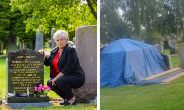 Linda Fairbairn was angry with the condition of the grave when she visited earlier this week,