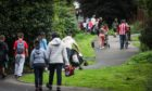 Parents dropping off kids at a Perthshire primary amid the coronavirus pandemic in August 2020.