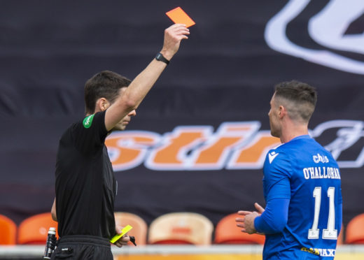 Michael O'Halloran is red-carded at Tannadice.