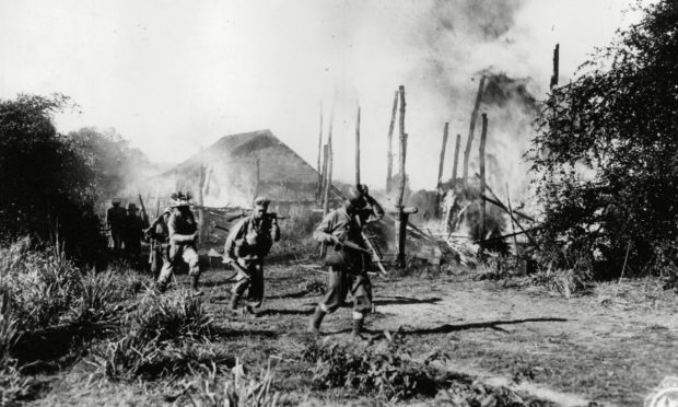 Allied troops fighting in Burma during the Second World War.