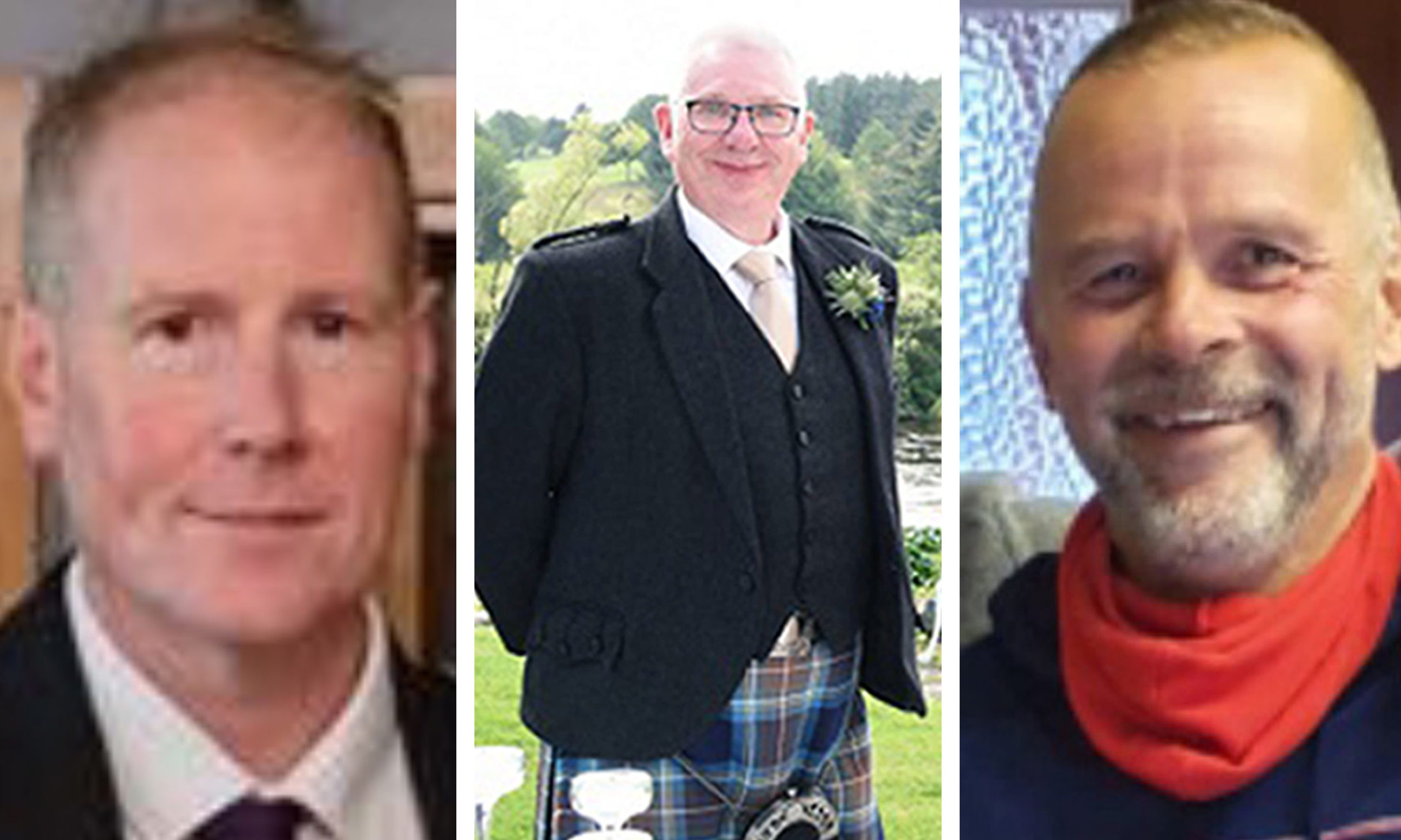 Stonehaven rail tragedy victims Brett McCullough, Donald Dinnie and Christopher Stuchbury.