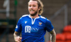 DUNDEE, SCOTLAND - AUGUST 01: Stevie May in action for St Johnstone during the Scottish Premiership match between Dundee United and St Johnstone at Tannadice Park on August 01, 2020, in Dundee, Scotland. (Photo by Ross Parker / SNS Group)