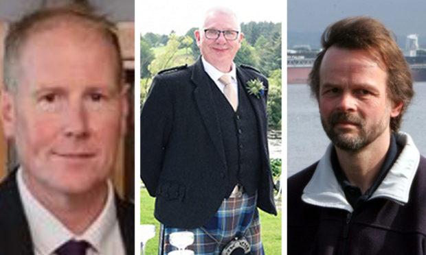 Stonehaven rail tragedy victims Brett McCullough, Donald Dinnie and Christopher Stuchbury.