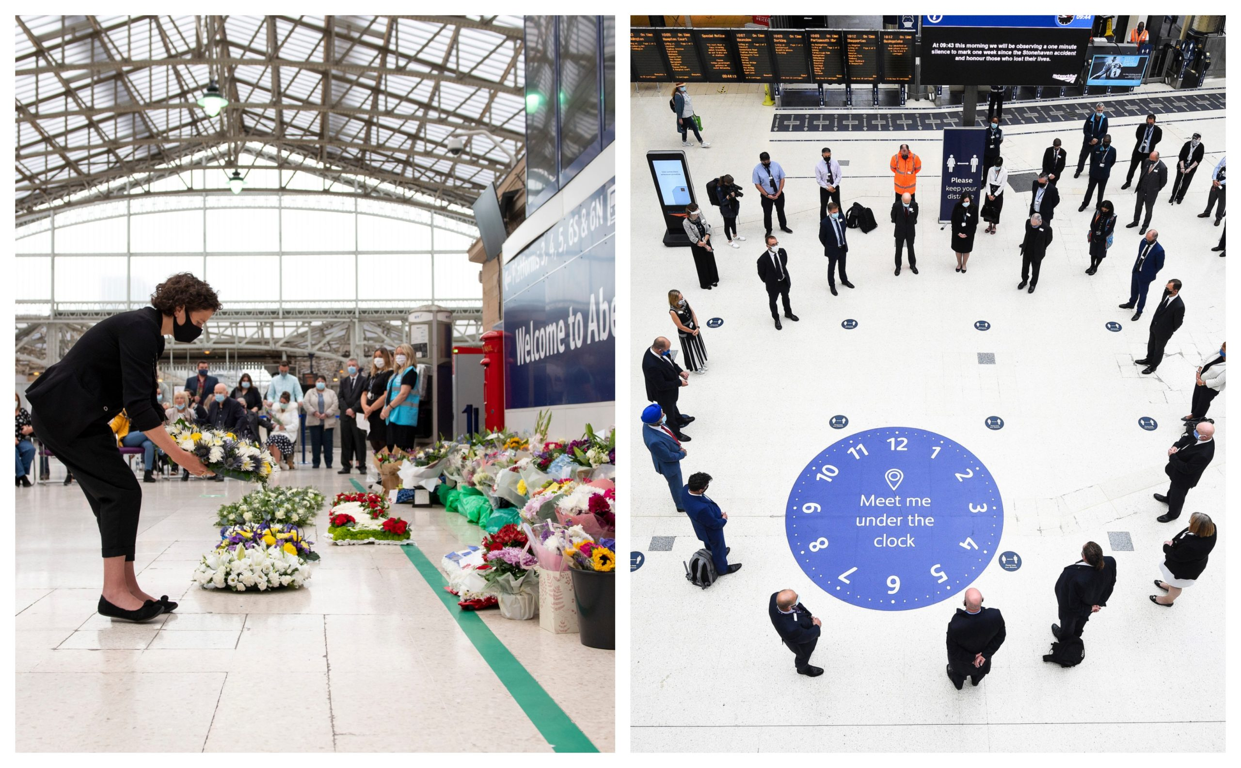 Tributes being paid to the victims of the Stonehaven rail tragedy in Aberdeen (left) and Waterloo Station (right).