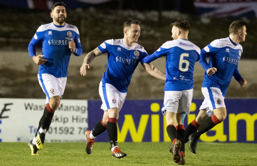 David Cox (centre) celebrates his 2019 Scottish Cup goal against Rangers with Kyle Miller.
